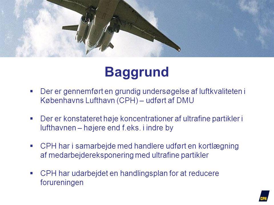  Der er gennemført en grundig undersøgelse af luftkvaliteten i Københavns Lufthavn (CPH) – udført af DMU  Der er konstateret høje koncentrationer af ultrafine partikler i lufthavnen – højere end f.eks.
