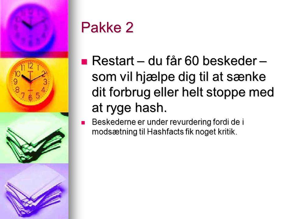 Pakke 2  Restart – du får 60 beskeder – som vil hjælpe dig til at sænke dit forbrug eller helt stoppe med at ryge hash.