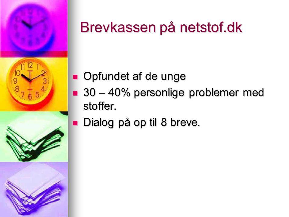 Brevkassen på netstof.dk  Opfundet af de unge  30 – 40% personlige problemer med stoffer.