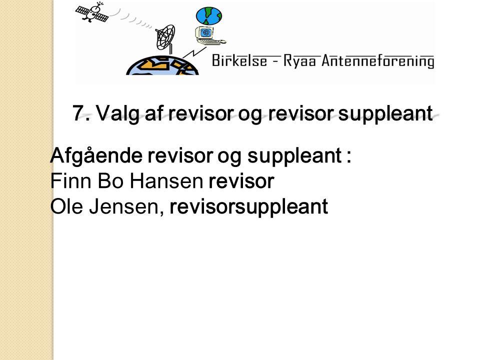 Afgående revisor og suppleant : Finn Bo Hansen revisor Ole Jensen, revisorsuppleant 7.