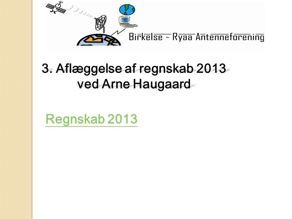 3. Aflæggelse af regnskab 2013 ved Arne Haugaard Regnskab 2013