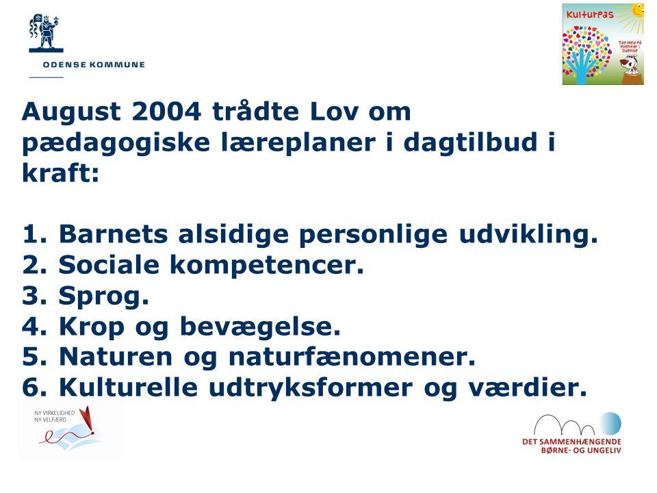 August 2004 trådte Lov om pædagogiske læreplaner i dagtilbud i kraft: 1.Barnets alsidige personlige udvikling.