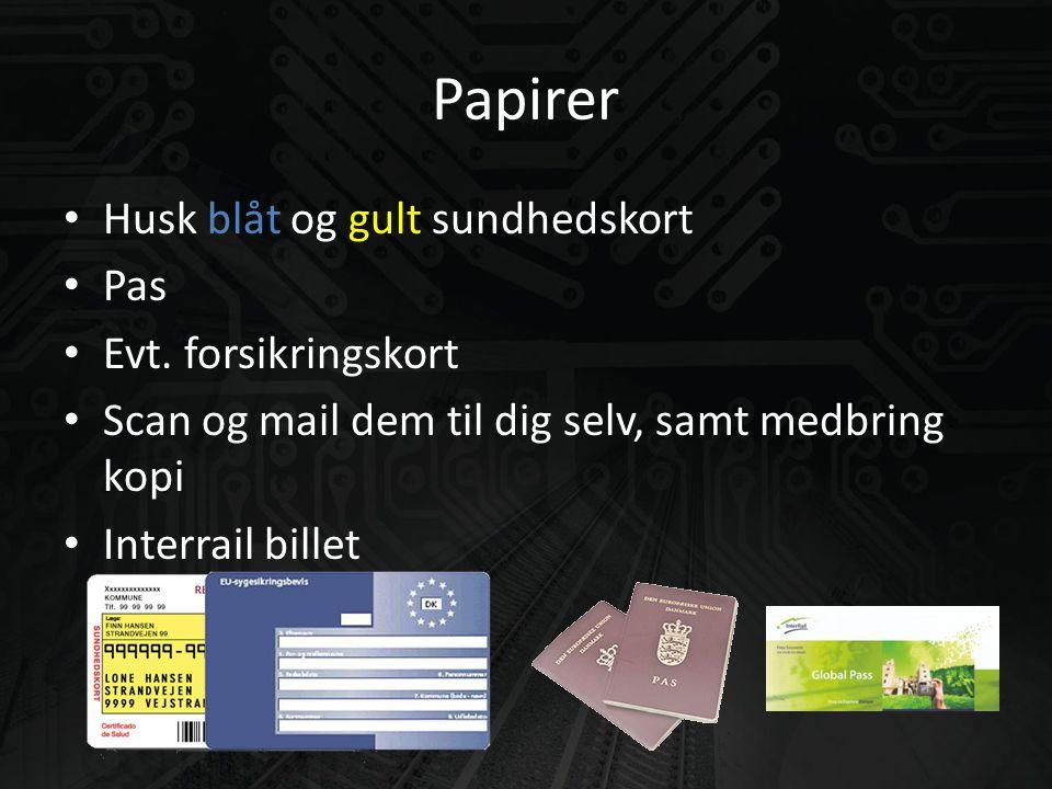 Papirer • Husk blåt og gult sundhedskort • Pas • Evt.