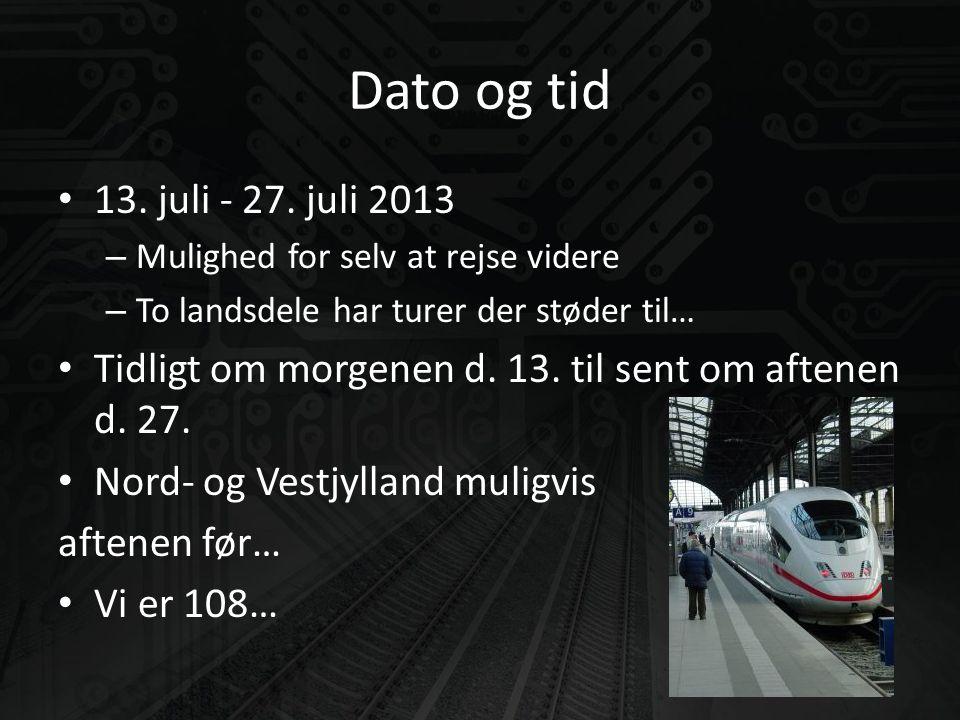 Dato og tid • 13. juli - 27.