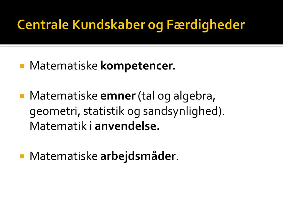  Matematiske kompetencer.