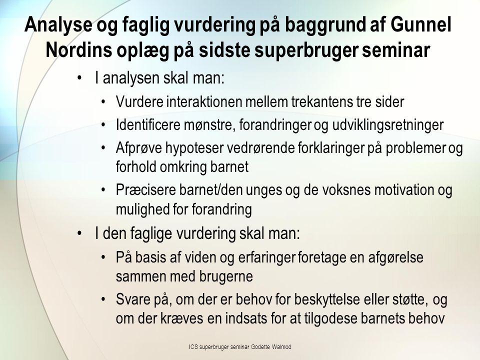 Analyse og faglig vurdering på baggrund af Gunnel Nordins oplæg på sidste superbruger seminar •I analysen skal man: •Vurdere interaktionen mellem trek