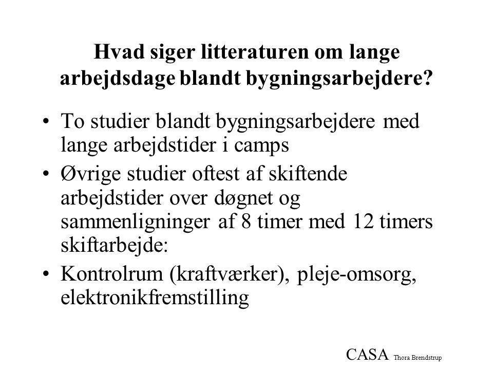 CASA Thora Brendstrup Hvad siger litteraturen om lange arbejdsdage blandt bygningsarbejdere.