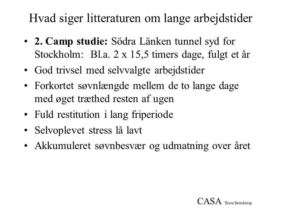 CASA Thora Brendstrup Hvad siger litteraturen om lange arbejdstider •2.