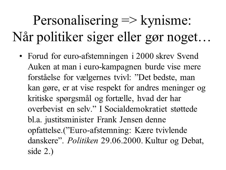 Personalisering => kynisme: Når politiker siger eller gør noget… •Forud for euro-afstemningen i 2000 skrev Svend Auken at man i euro-kampagnen burde vise mere forståelse for vælgernes tvivl: Det bedste, man kan gøre, er at vise respekt for andres meninger og kritiske spørgsmål og fortælle, hvad der har overbevist en selv. I Socialdemokratiet støttede bl.a.