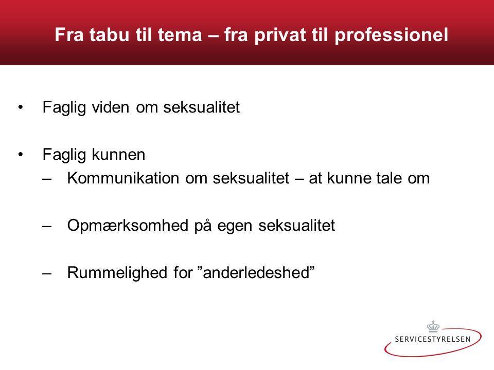 Fra tabu til tema – fra privat til professionel •Faglig viden om seksualitet •Faglig kunnen –Kommunikation om seksualitet – at kunne tale om –Opmærkso