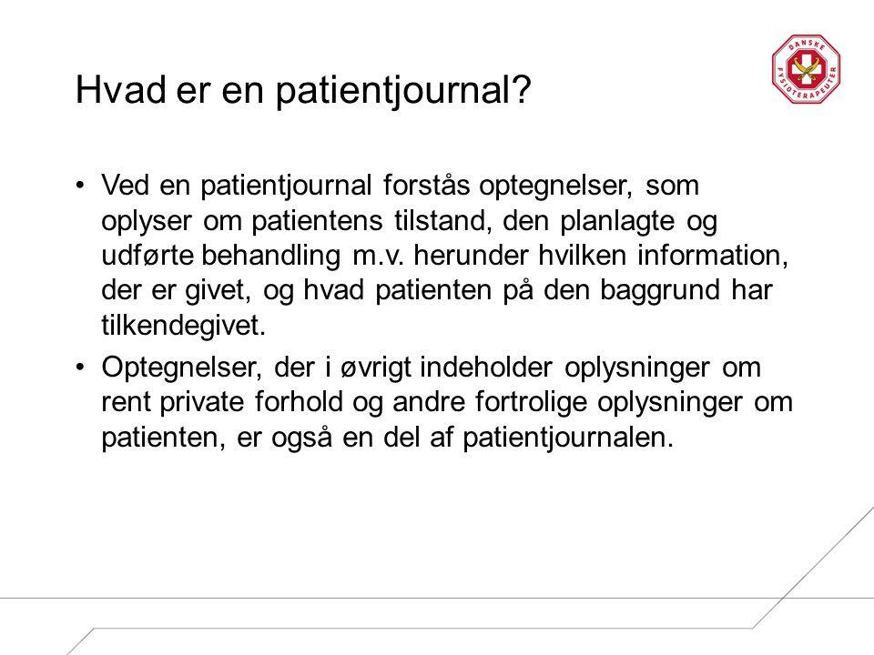 Hvad indeholder en patientjournal.