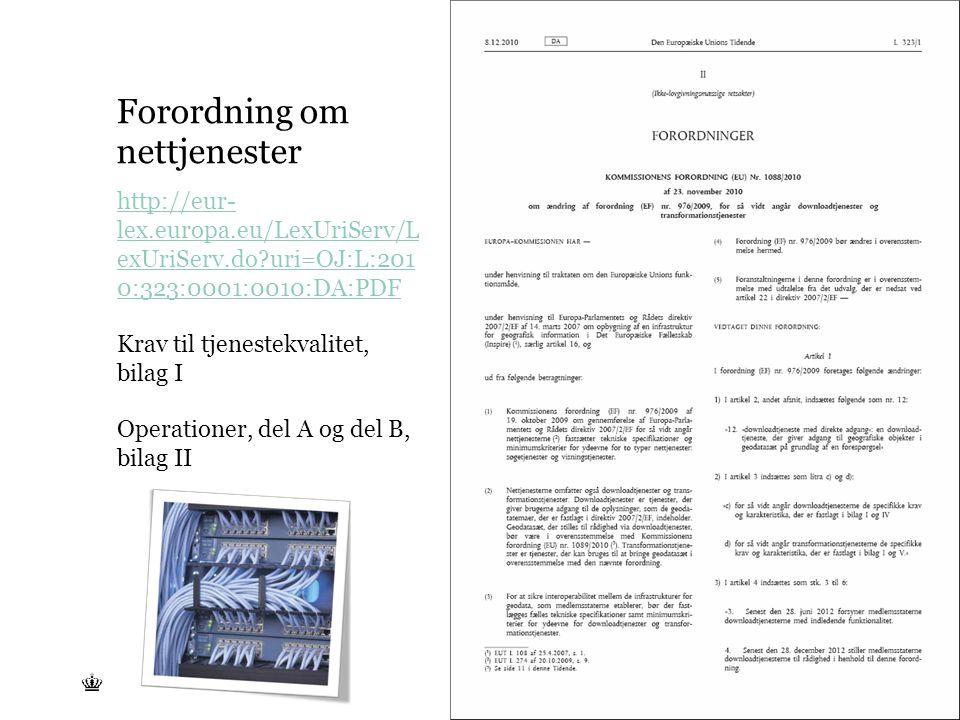 Tekst starter uden punktopstilling For at få punktopstilling på teksten (flere niveauer findes), brug >Forøg listeniveau- knappen i Topmenuen For at få venstrestillet tekst uden punktopstilling, brug >Formindsk listeniveau- knappen i Topmenuen Forordning om nettjenester http://eur- lex.europa.eu/LexUriServ/L exUriServ.do uri=OJ:L:201 0:323:0001:0010:DA:PDF Krav til tjenestekvalitet, bilag I Operationer, del A og del B, bilag II
