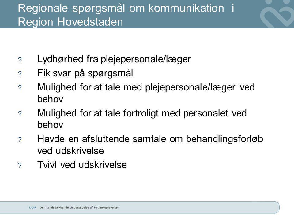 Regionale spørgsmål om kommunikation i Region Hovedstaden .