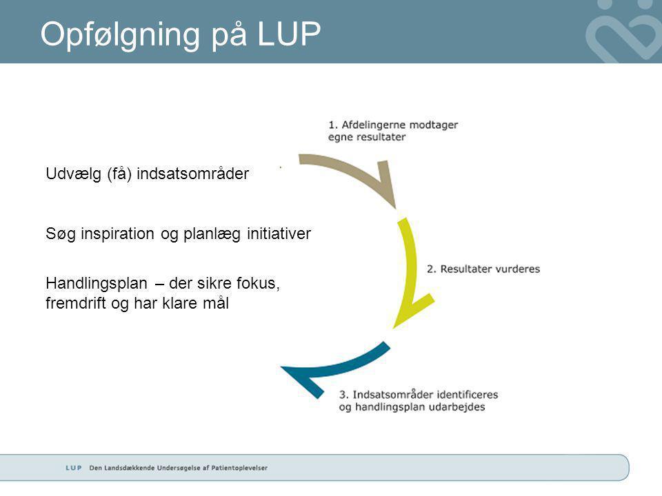 Opfølgning på LUP Udvælg (få) indsatsområder Søg inspiration og planlæg initiativer Handlingsplan – der sikre fokus, fremdrift og har klare mål