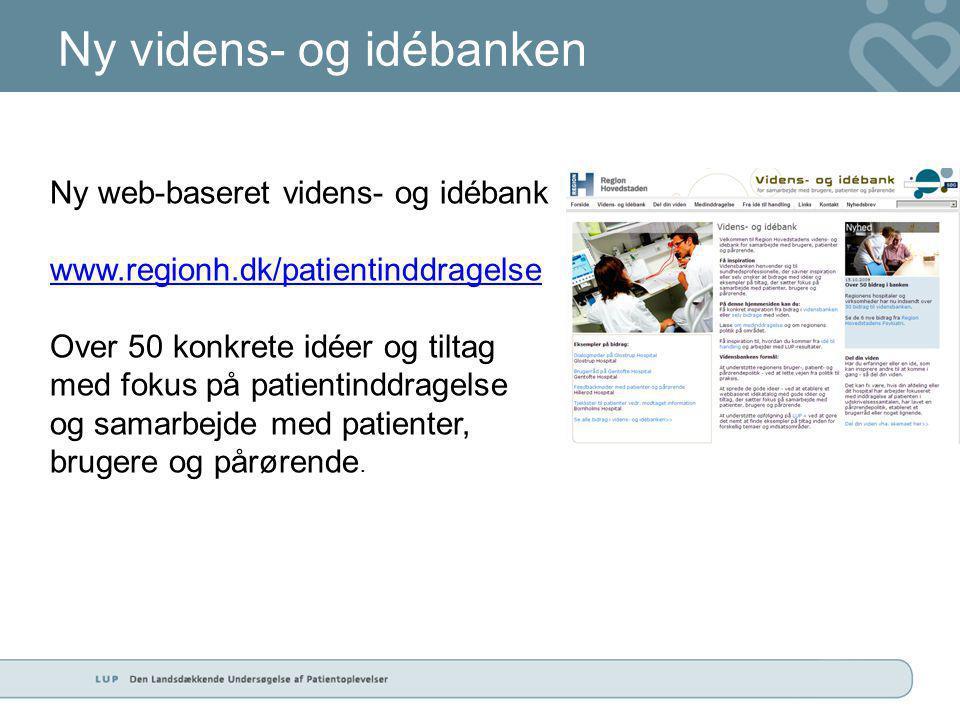Ny videns- og idébanken Ny web-baseret videns- og idébank www.regionh.dk/patientinddragelse Over 50 konkrete idéer og tiltag med fokus på patientinddragelse og samarbejde med patienter, brugere og pårørende.