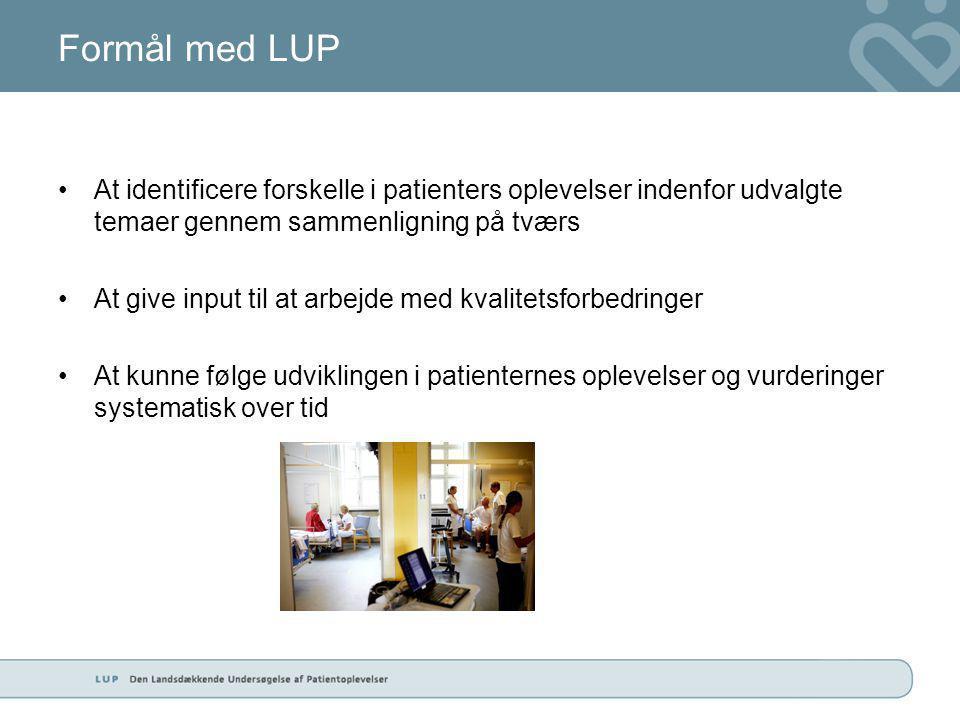 Formål med LUP •At identificere forskelle i patienters oplevelser indenfor udvalgte temaer gennem sammenligning på tværs •At give input til at arbejde med kvalitetsforbedringer •At kunne følge udviklingen i patienternes oplevelser og vurderinger systematisk over tid