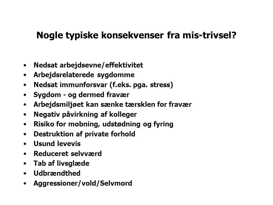 Nogle typiske konsekvenser fra mis-trivsel.