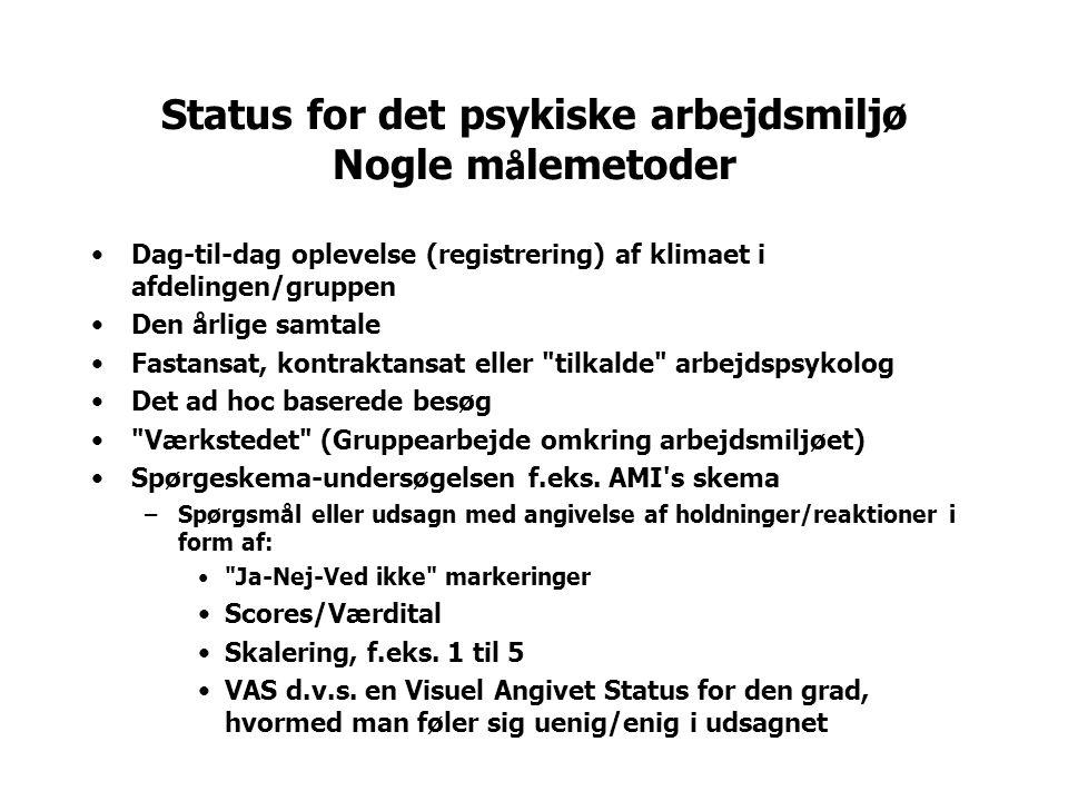Visuel Angivet Status (VAS) for den grad, hvormed medarbejderen føler sig uenig/enig i de forskellige udsagn./.