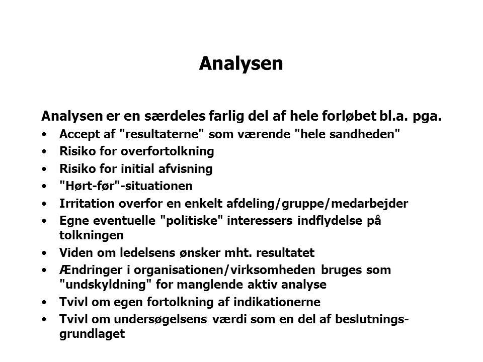 Analysen Analysen er en særdeles farlig del af hele forløbet bl.a.