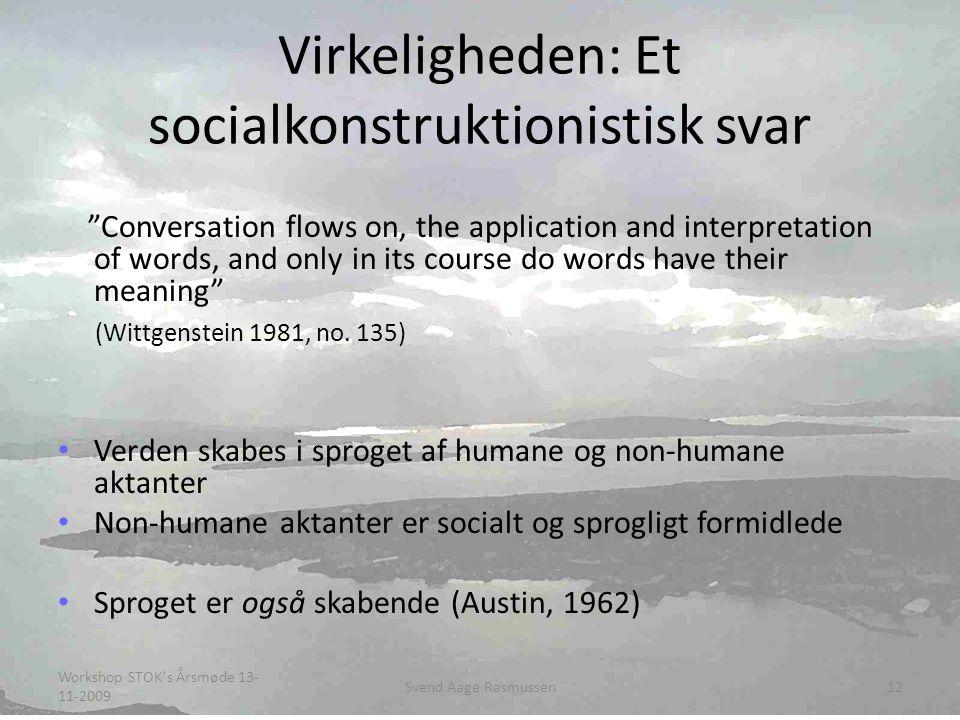 Virkeligheden: Et socialkonstruktionistisk svar Conversation flows on, the application and interpretation of words, and only in its course do words have their meaning (Wittgenstein 1981, no.