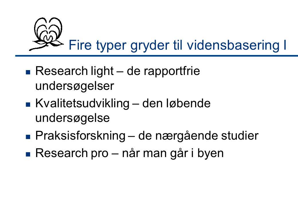 Fire typer gryder til vidensbasering I  Research light – de rapportfrie undersøgelser  Kvalitetsudvikling – den løbende undersøgelse  Praksisforskning – de nærgående studier  Research pro – når man går i byen