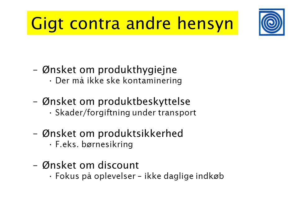 Gigt contra andre hensyn –Ønsket om produkthygiejne •Der må ikke ske kontaminering –Ønsket om produktbeskyttelse •Skader/forgiftning under transport –Ønsket om produktsikkerhed •F.eks.