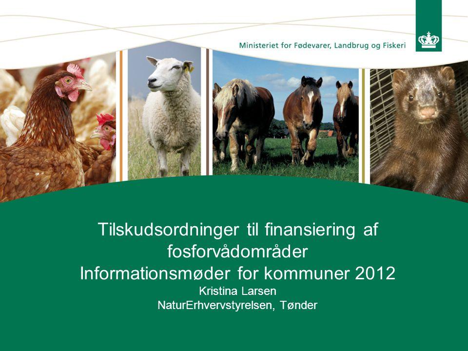 Tilskudsordninger til finansiering af fosforvådområder Informationsmøder for kommuner 2012 Kristina Larsen NaturErhvervstyrelsen, Tønder