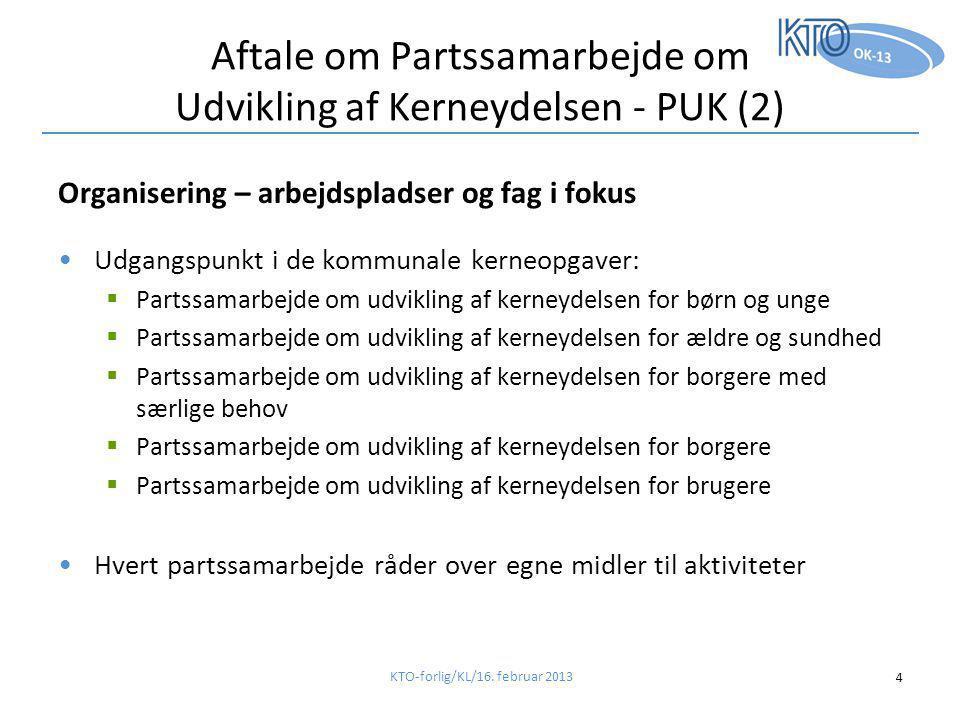 Aftale om Partssamarbejde om Udvikling af Kerneydelsen - PUK (2) Organisering – arbejdspladser og fag i fokus •Udgangspunkt i de kommunale kerneopgaver:  Partssamarbejde om udvikling af kerneydelsen for børn og unge  Partssamarbejde om udvikling af kerneydelsen for ældre og sundhed  Partssamarbejde om udvikling af kerneydelsen for borgere med særlige behov  Partssamarbejde om udvikling af kerneydelsen for borgere  Partssamarbejde om udvikling af kerneydelsen for brugere •Hvert partssamarbejde råder over egne midler til aktiviteter KTO-forlig/KL/16.