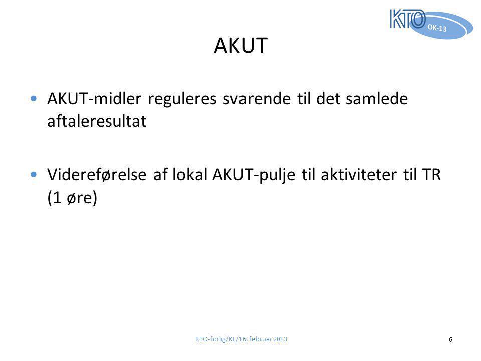 AKUT •AKUT-midler reguleres svarende til det samlede aftaleresultat •Videreførelse af lokal AKUT-pulje til aktiviteter til TR (1 øre) KTO-forlig/KL/16.
