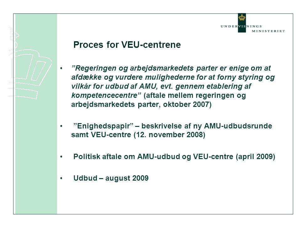Proces for VEU-centrene • Regeringen og arbejdsmarkedets parter er enige om at afdække og vurdere mulighederne for at forny styring og vilkår for udbud af AMU, evt.