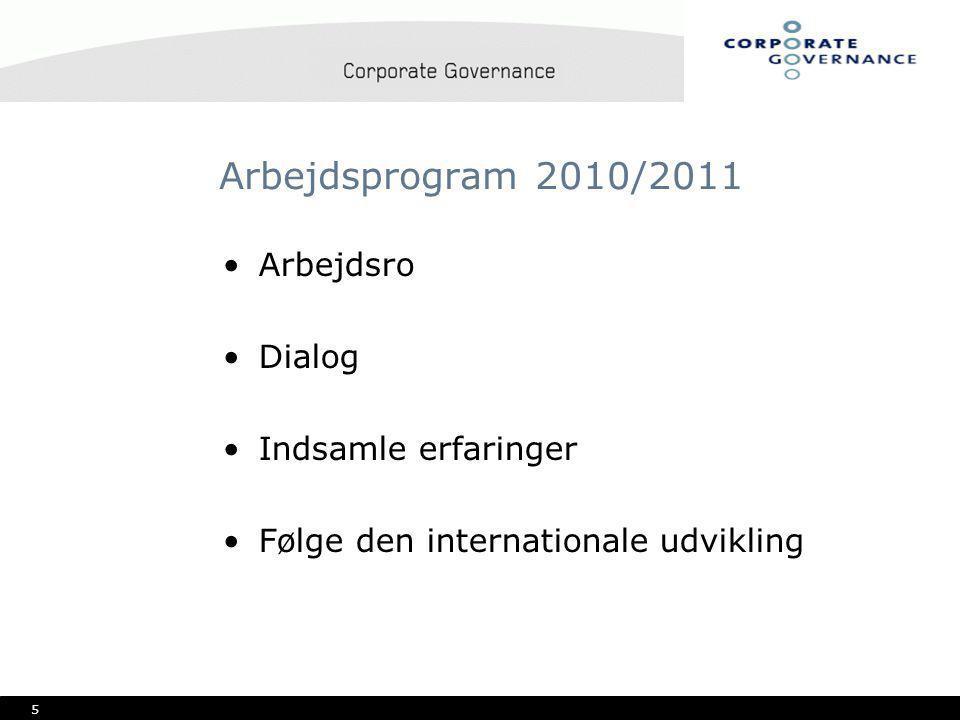 5 Arbejdsprogram 2010/2011 •Arbejdsro •Dialog •Indsamle erfaringer •Følge den internationale udvikling
