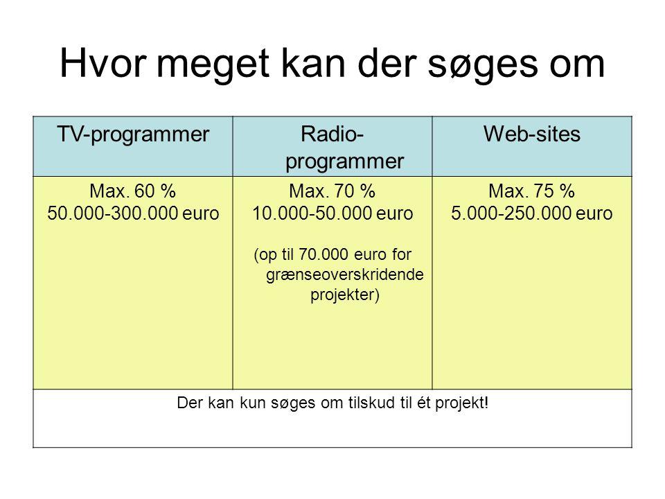 Hvor meget kan der søges om TV-programmerRadio- programmer Web-sites Max.