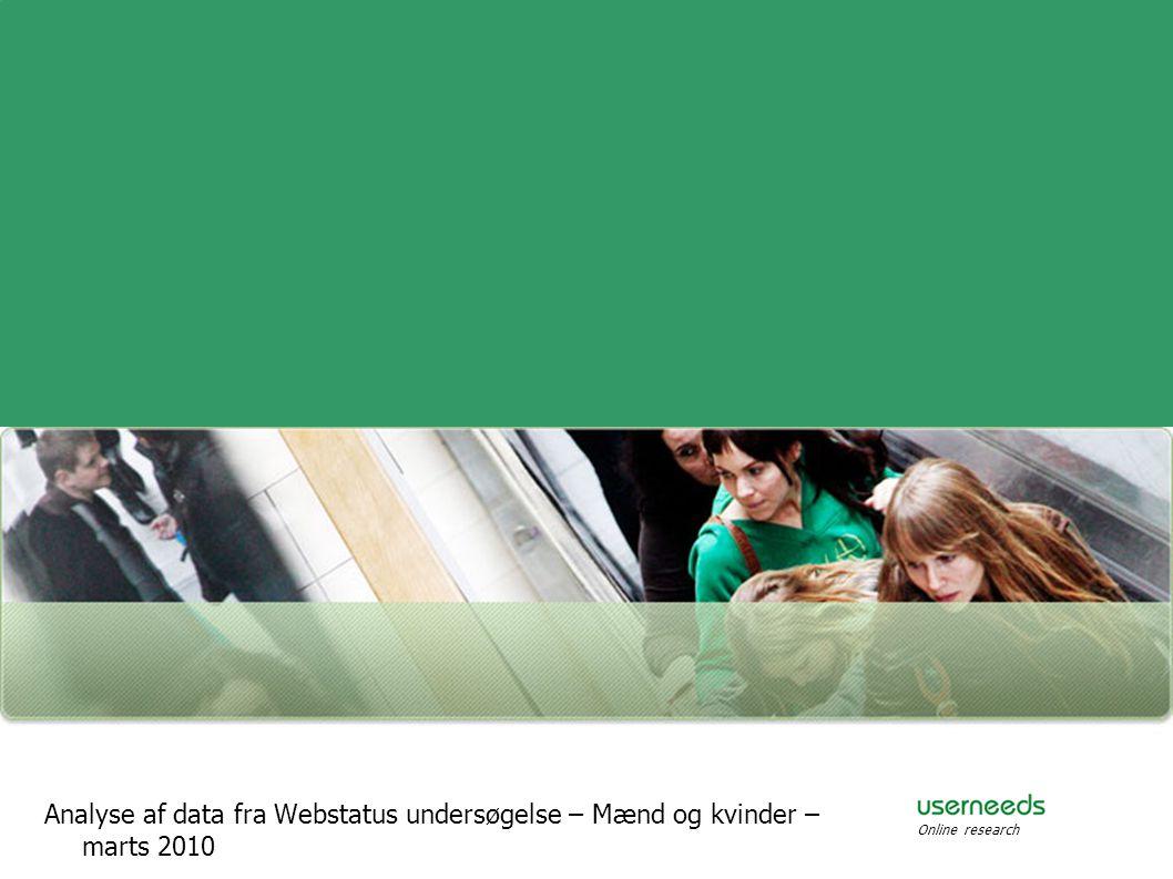 Analyse af data fra Webstatus undersøgelse – Mænd og kvinder – marts 2010 Online research
