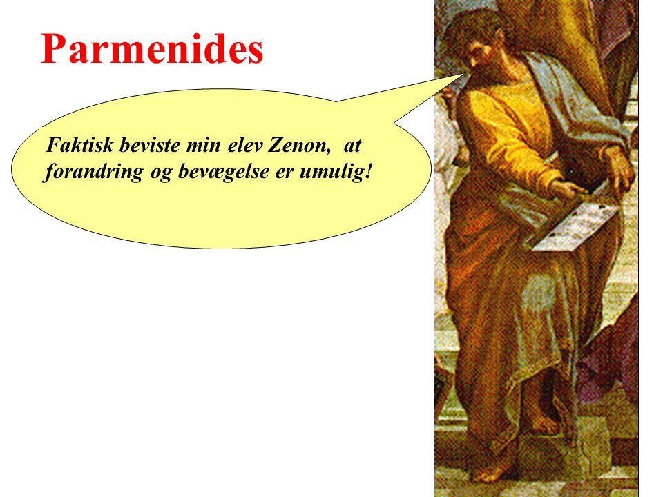 Parmenides Faktisk beviste min elev Zenon, at forandring og bevægelse er umulig!