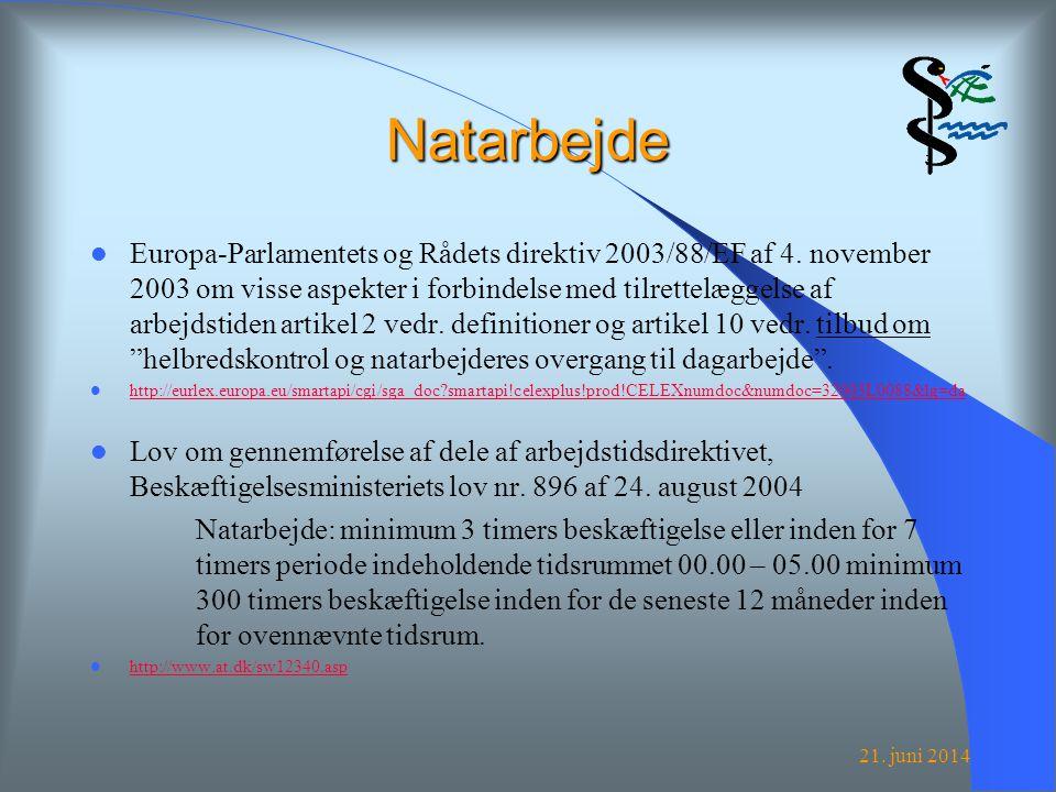 21. juni 2014 Natarbejde  Europa-Parlamentets og Rådets direktiv 2003/88/EF af 4.