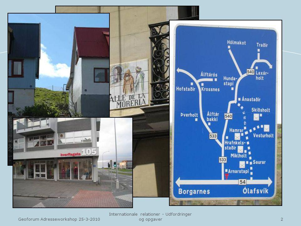2Geoforum Adresseworkshop 25-3-2010 Internationale relationer - Udfordringer og opgaver
