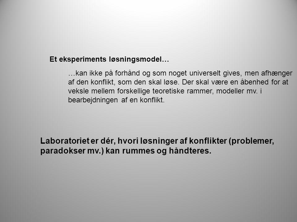 Laboratoriet er dér, hvori løsninger af konflikter (problemer, paradokser mv.) kan rummes og håndteres.
