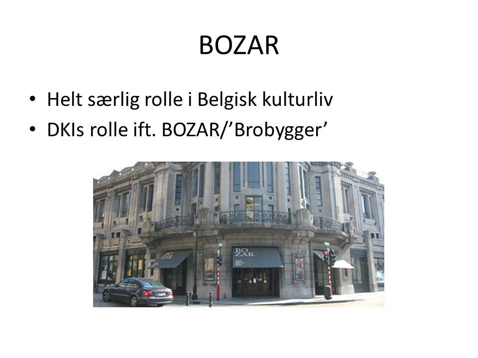 BOZAR • Helt særlig rolle i Belgisk kulturliv • DKIs rolle ift. BOZAR/'Brobygger'
