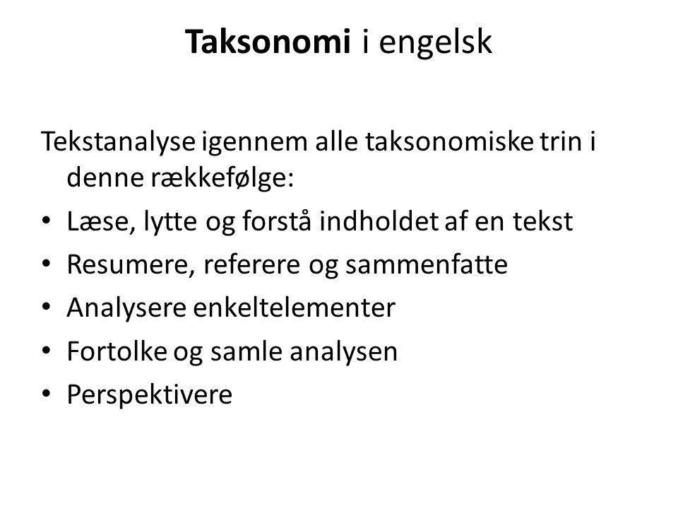 Taksonomi i engelsk Tekstanalyse igennem alle taksonomiske trin i denne rækkefølge: • Læse, lytte og forstå indholdet af en tekst • Resumere, referere og sammenfatte • Analysere enkeltelementer • Fortolke og samle analysen • Perspektivere
