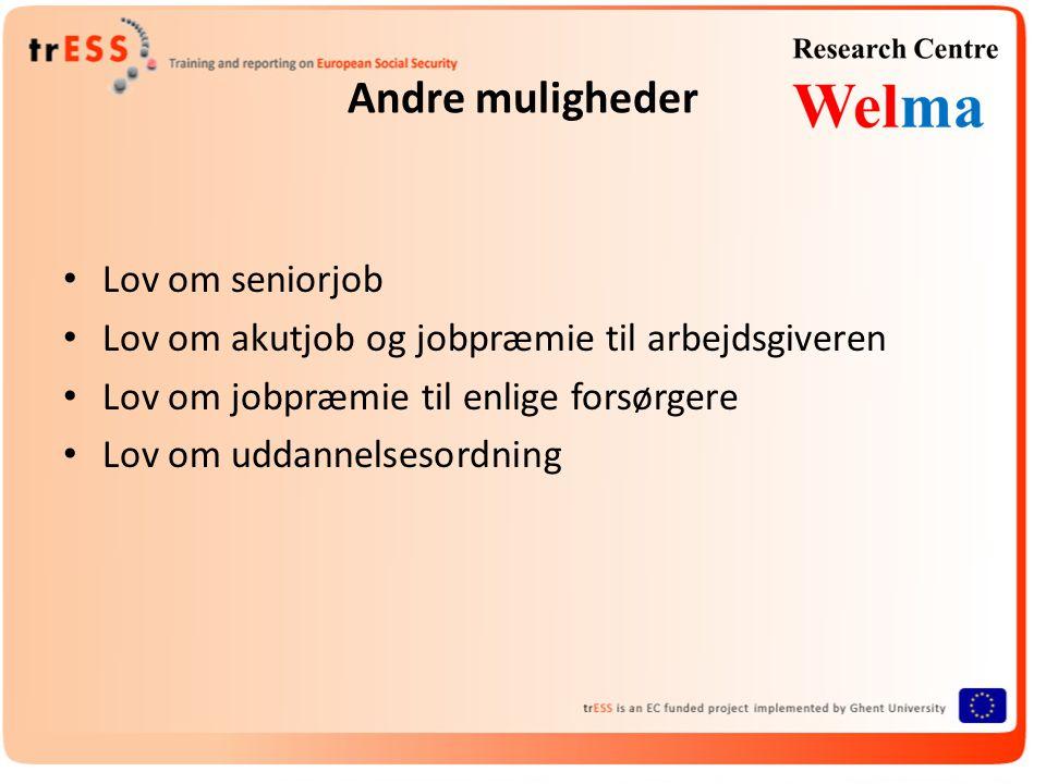 Andre muligheder • Lov om seniorjob • Lov om akutjob og jobpræmie til arbejdsgiveren • Lov om jobpræmie til enlige forsørgere • Lov om uddannelsesordning