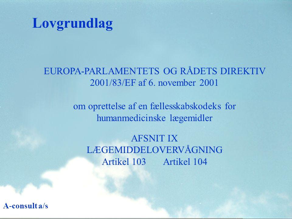 Lovgrundlag EUROPA-PARLAMENTETS OG RÅDETS DIREKTIV 2001/83/EF af 6.