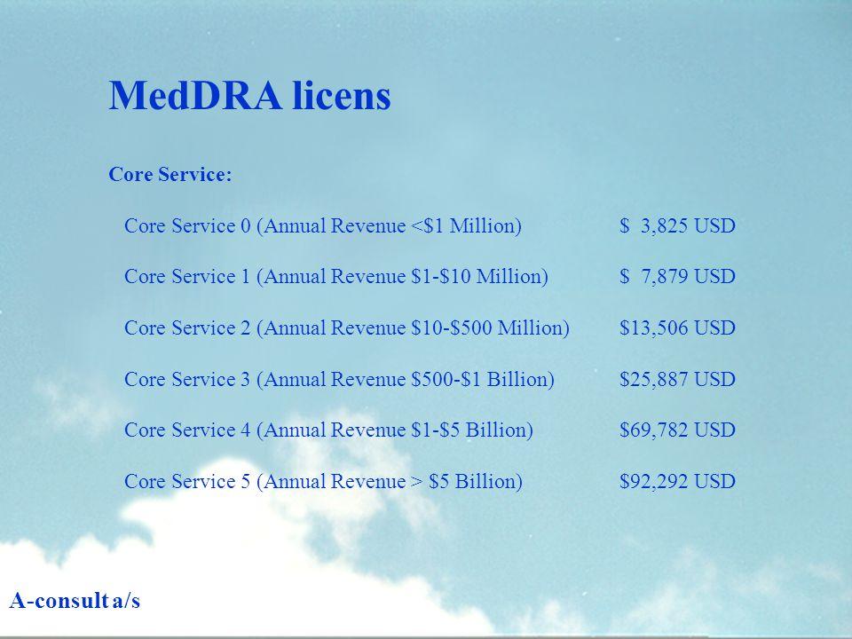 Core Service: Core Service 0 (Annual Revenue <$1 Million)$ 3,825 USD Core Service 1 (Annual Revenue $1-$10 Million) $ 7,879 USD Core Service 2 (Annual Revenue $10-$500 Million) $13,506 USD Core Service 3 (Annual Revenue $500-$1 Billion)$25,887 USD Core Service 4 (Annual Revenue $1-$5 Billion)$69,782 USD Core Service 5 (Annual Revenue > $5 Billion)$92,292 USD MedDRA licens A-consult a/s