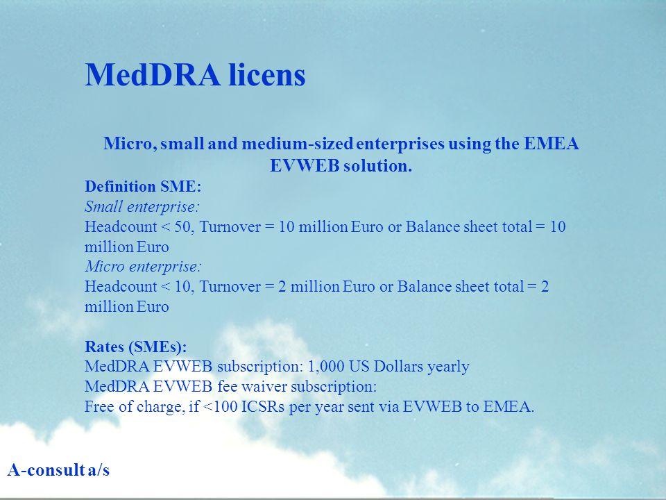 Micro, small and medium-sized enterprises using the EMEA EVWEB solution.