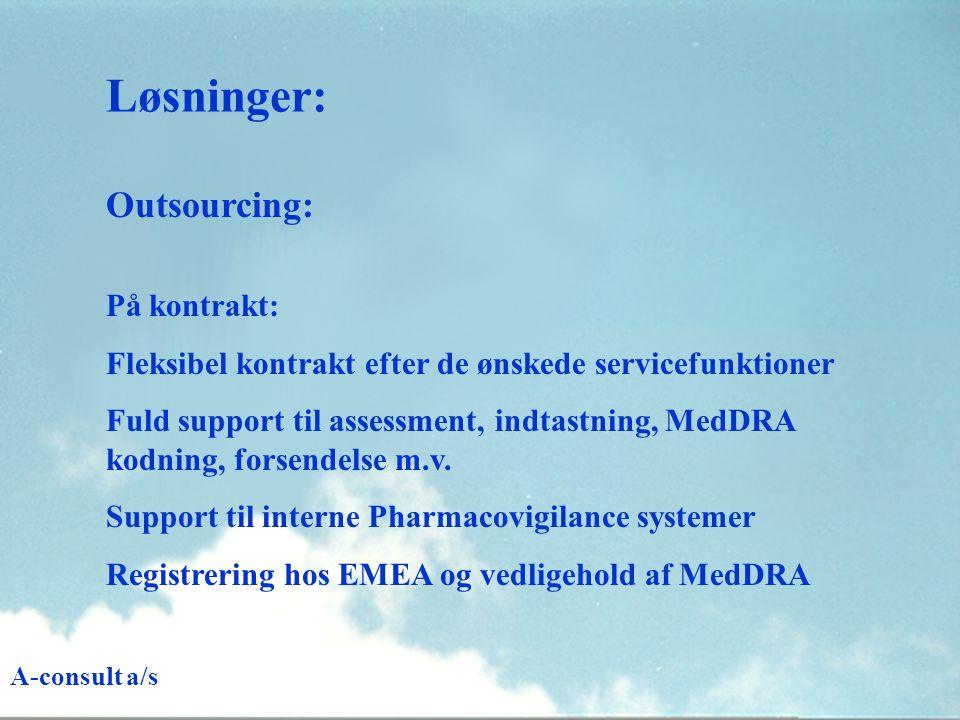 Løsninger: Outsourcing: På kontrakt: Fleksibel kontrakt efter de ønskede servicefunktioner Fuld support til assessment, indtastning, MedDRA kodning, forsendelse m.v.