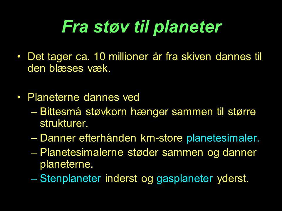Fra støv til planeter •Det tager ca. 10 millioner år fra skiven dannes til den blæses væk. •Planeterne dannes ved –Bittesmå støvkorn hænger sammen til