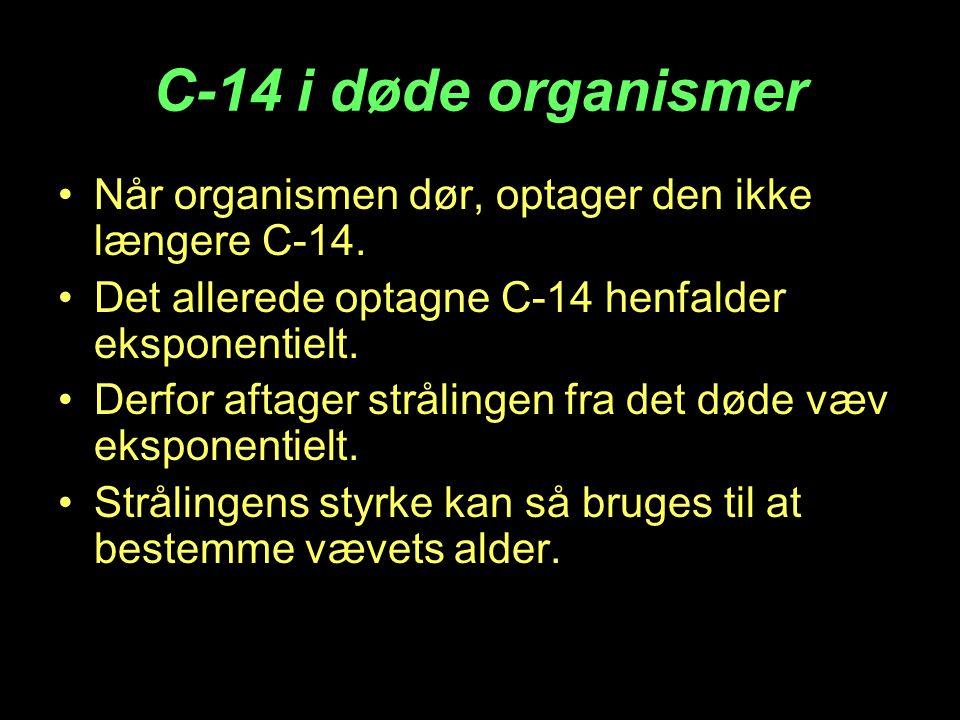 C-14 i døde organismer •Når organismen dør, optager den ikke længere C-14. •Det allerede optagne C-14 henfalder eksponentielt. •Derfor aftager strålin