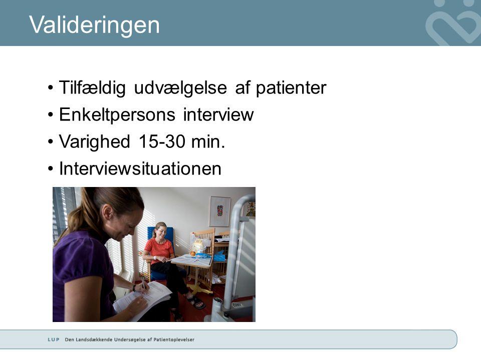Valideringen • Tilfældig udvælgelse af patienter • Enkeltpersons interview • Varighed 15-30 min.