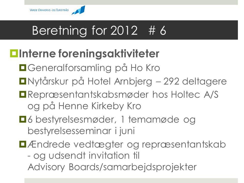 Beretning for 2012 # 6  Interne foreningsaktiviteter  Generalforsamling på Ho Kro  Nytårskur på Hotel Arnbjerg – 292 deltagere  Repræsentantskabsmøder hos Holtec A/S og på Henne Kirkeby Kro  6 bestyrelsesmøder, 1 temamøde og bestyrelsesseminar i juni  Ændrede vedtægter og repræsentantskab - og udsendt invitation til Advisory Boards/samarbejdsprojekter