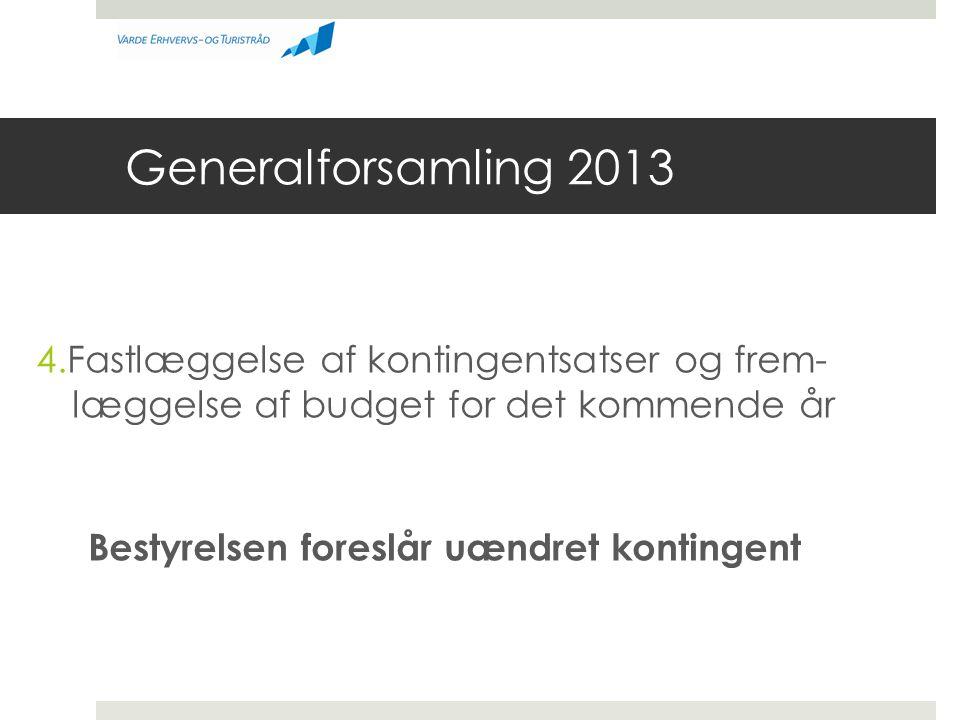 Generalforsamling 2013 4.Fastlæggelse af kontingentsatser og frem- læggelse af budget for det kommende år Bestyrelsen foreslår uændret kontingent