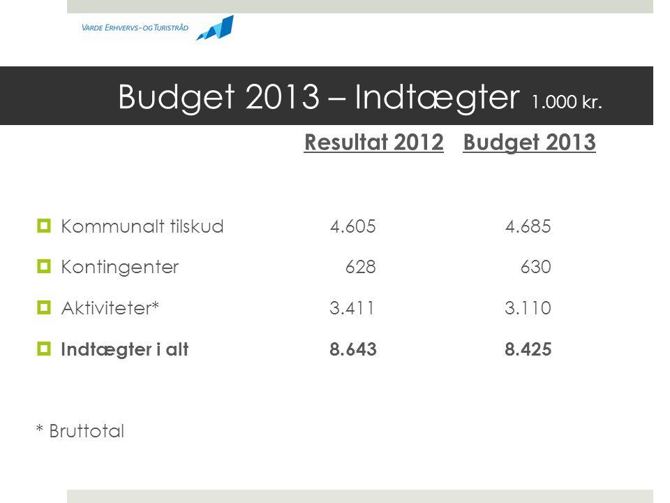 Budget 2013 – Indtægter 1.000 kr.